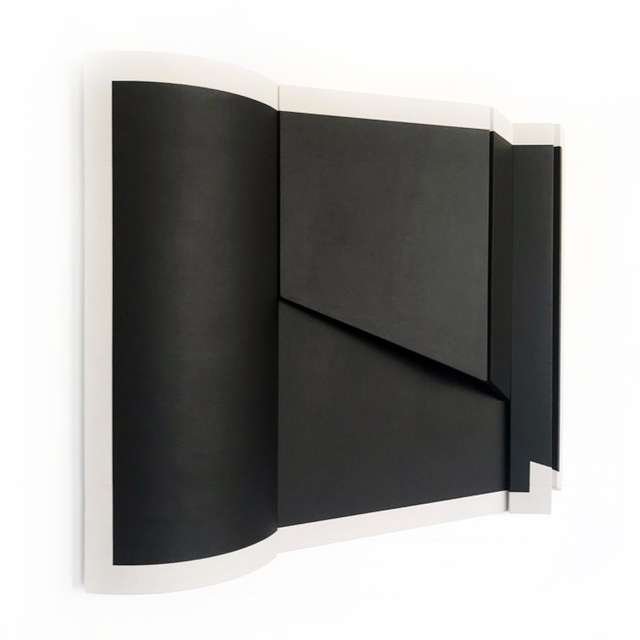 "Untitled Black Curve I - 36"" x 44.5"" x 5.5""   Drop cloth & paint over wood"