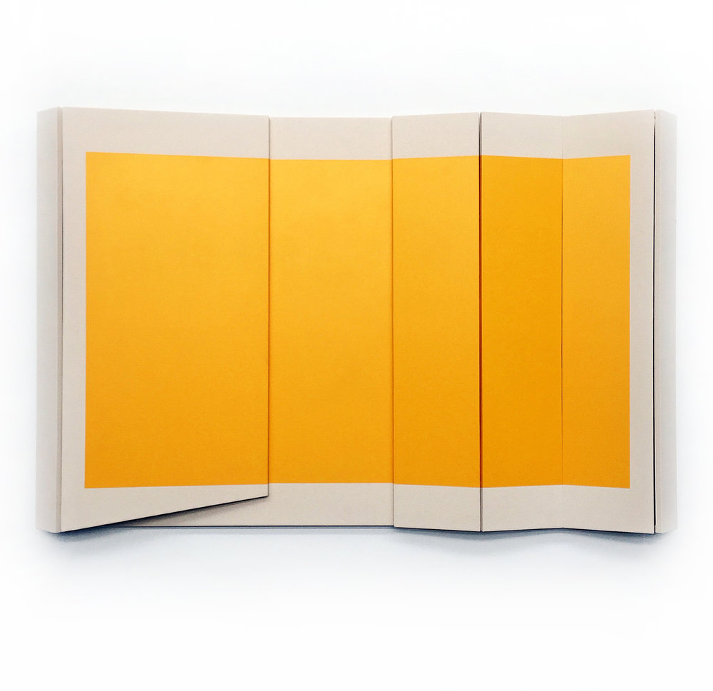 "Untitled Yellow II - 48"" x 75"" x 5.5""  Canvas & paint over wood"