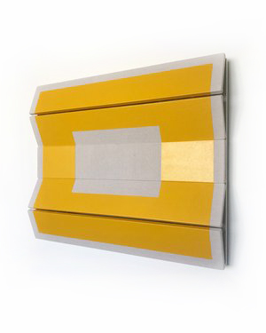 "Untitled Yellow Rectangle - 29.5"" x 36"" x 4.5""  Drop cloth & paint over wood"