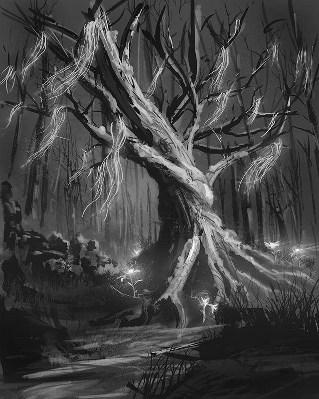 Sketch for Hex: Shards of Fate; Root of Retribution. #hexshardsoffate #art #digitalart #digitalsketch #sketchbook #blackandwhite #tree #glow #instaart #painting