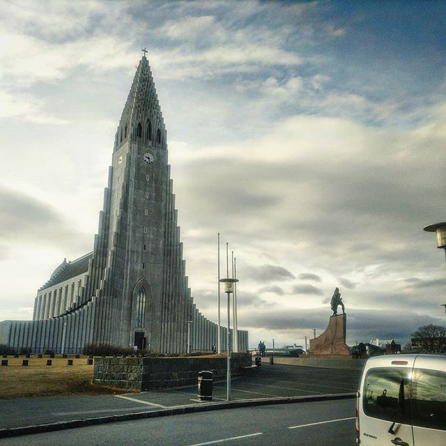 Hallgrimskirkja! A Lutheran Church in Reykjavik, Iceland.  If you visit, be sure to view the sculpture garden behind the Einar Jonsson Museum to the South-West. Fantastic and Illustrative 3D art pertaining to the human condition. Construction 1945-1986. The church was constructed behind a statue of Leifur Erìksson gifted by the US in 1930.  Lots of great history here :) #hallgrimskirkja  #satan #lutheran #iceland #einar #sculpture #history #lief #leifur