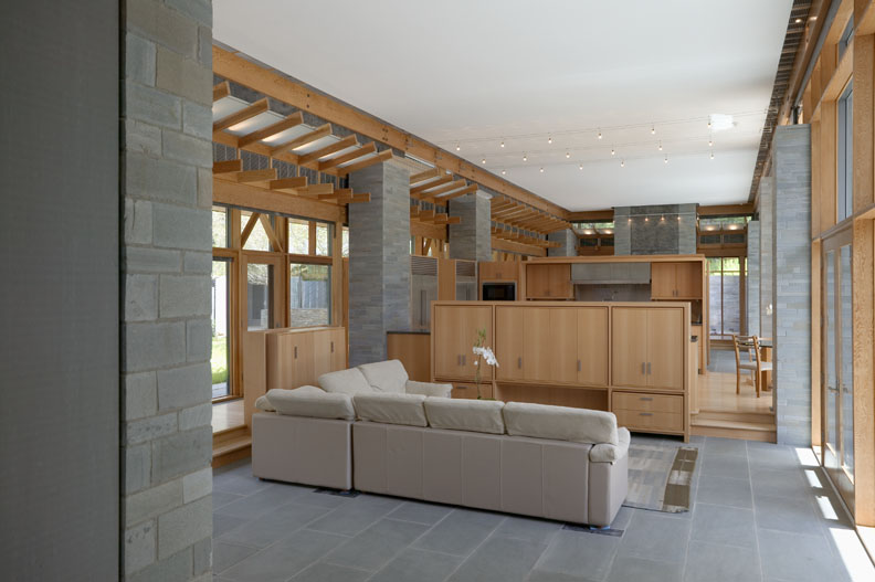relaxing living room exposed timber framing