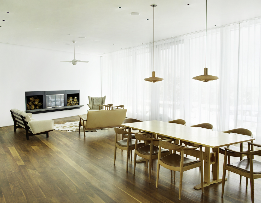 clean peaceful dining room with fireplace and pendant lighting bright