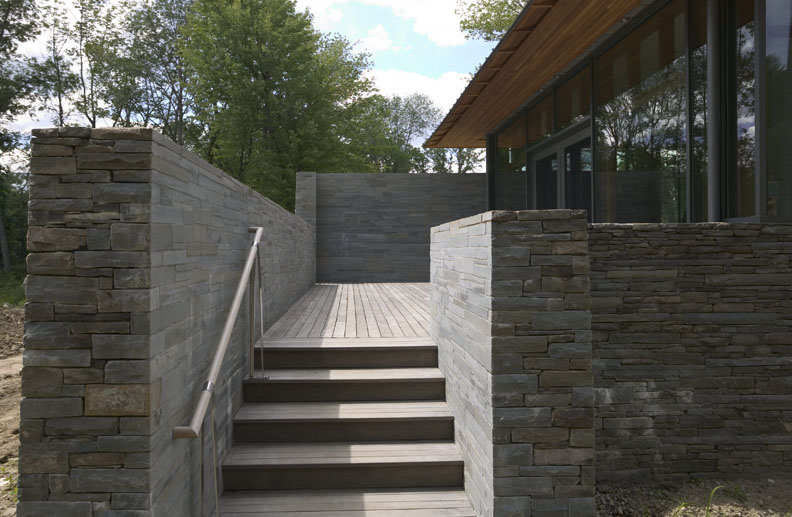 stone and wooden stairwell exterior