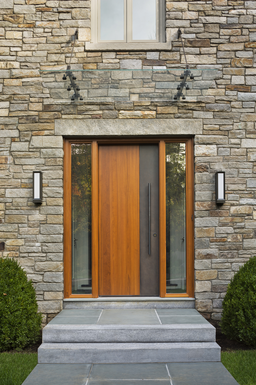 custom luxury traditional stone entryway in new canaan connecticut