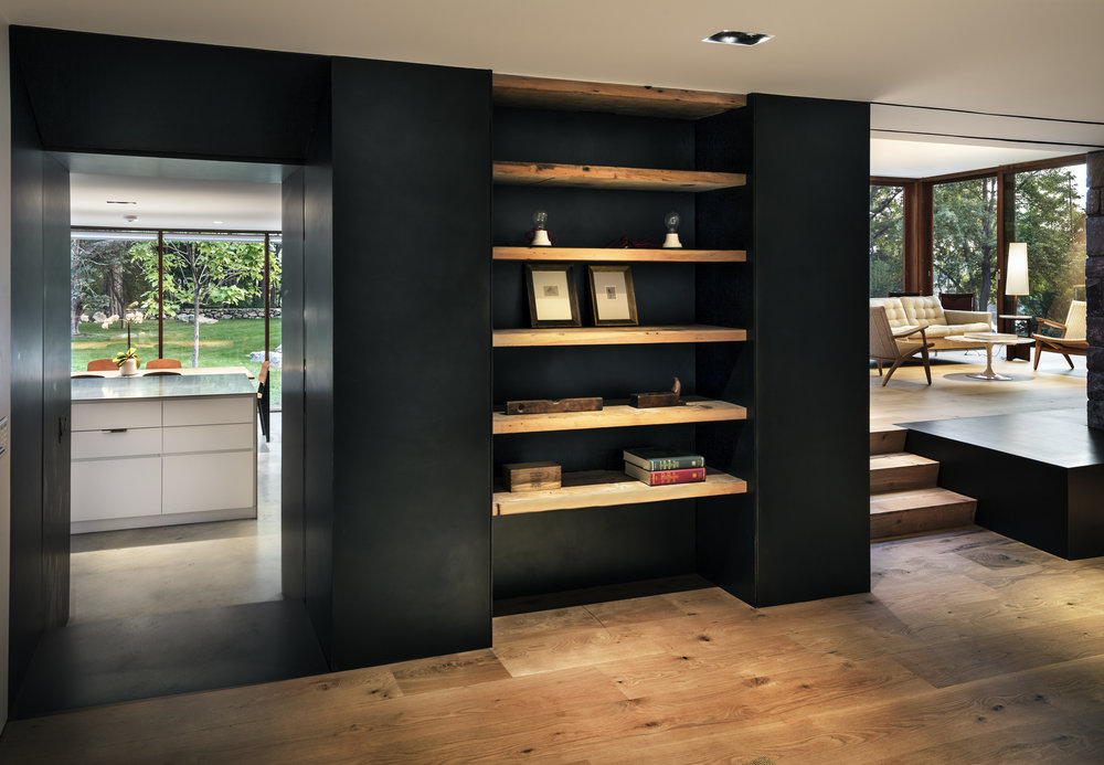 custom shelving wood floors modern luxury home
