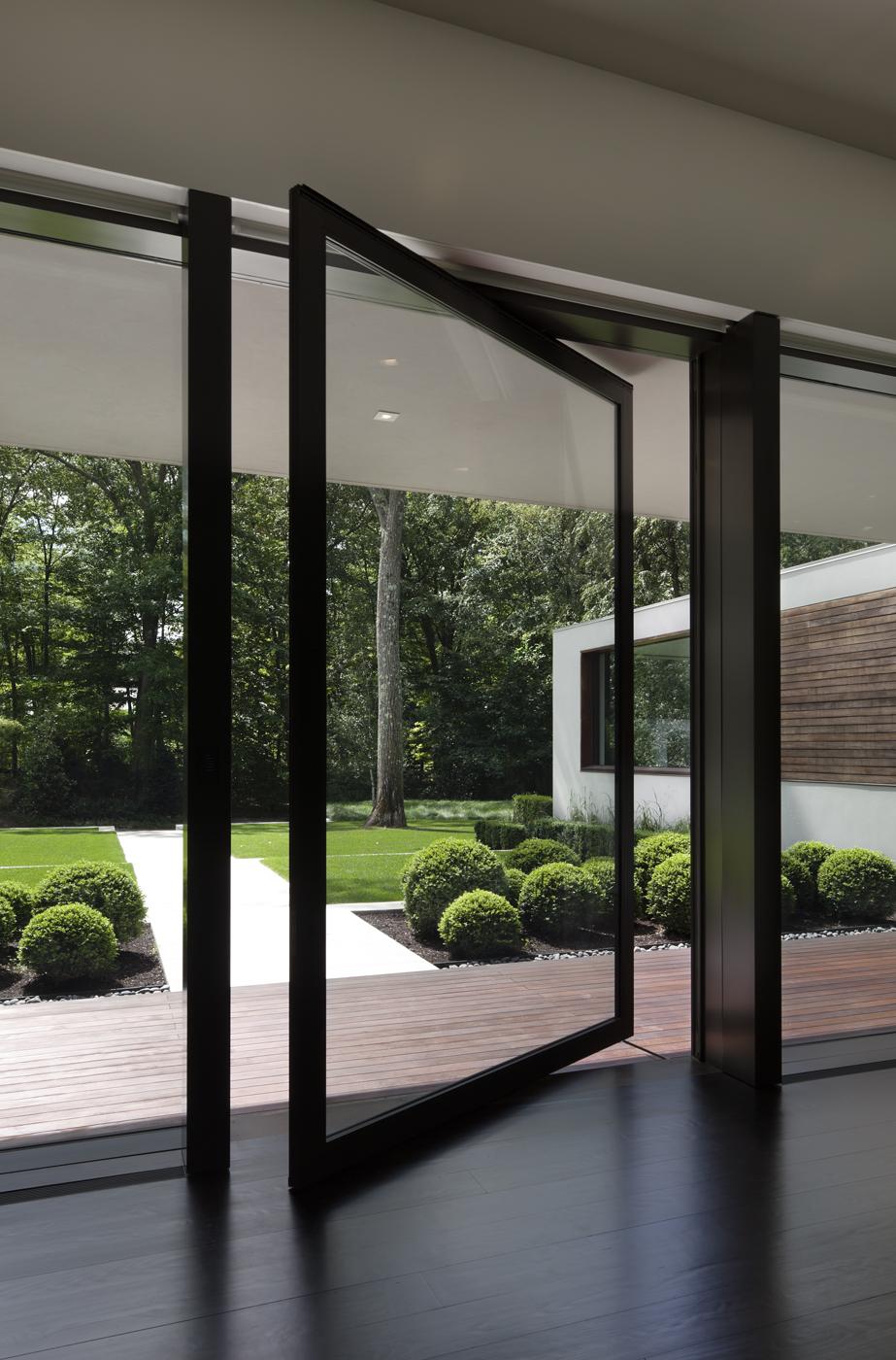 custom glass front door amazing view
