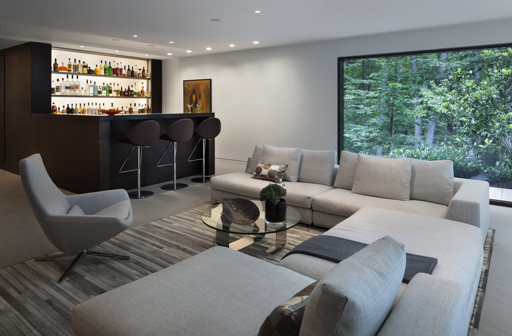 basement bar relaxing couch with amazing view