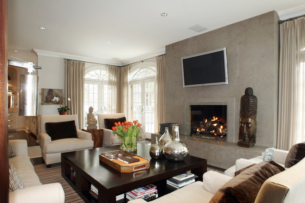 warm living room fireplace custom builders award winning