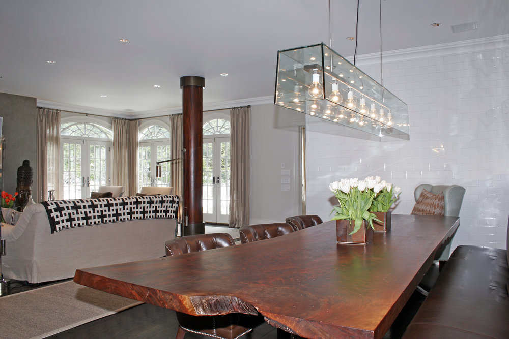 wood slab dining room table custom luxury