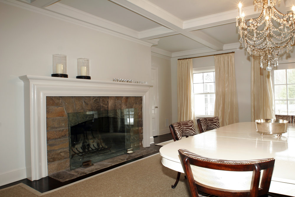 dining room fireplace cozy warm white