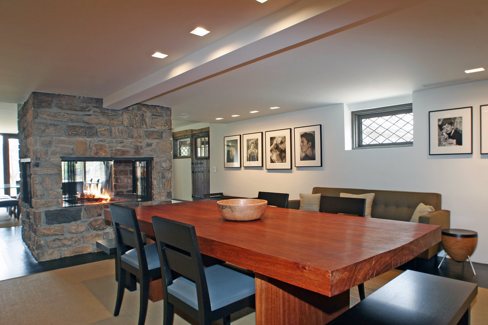 beautiful wood dining room table custom luxury stone fireplace