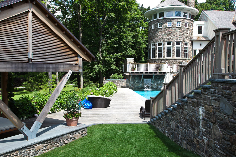 stone staircase gazebo pool luxury home