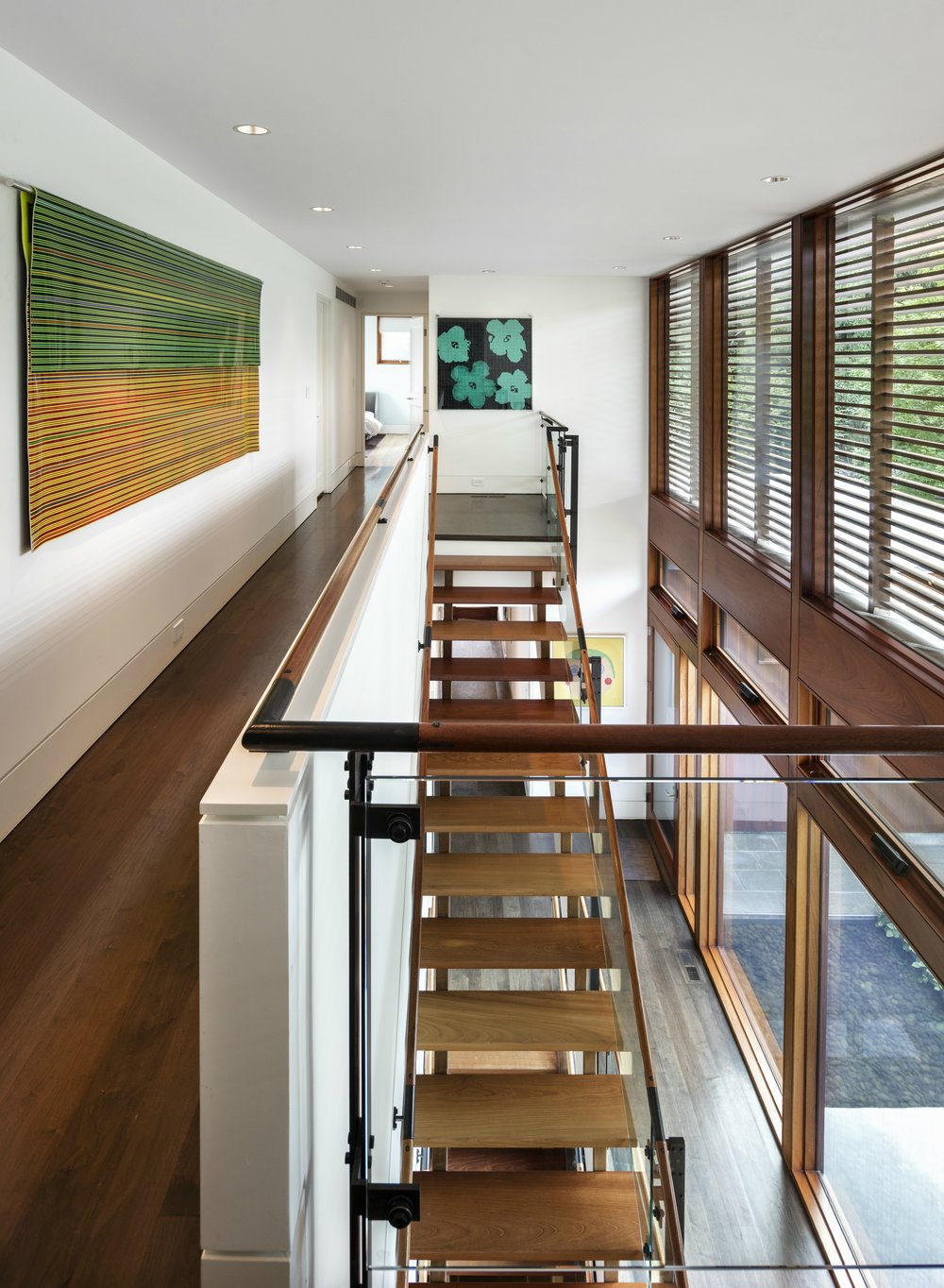 perfect wood and glass staircase