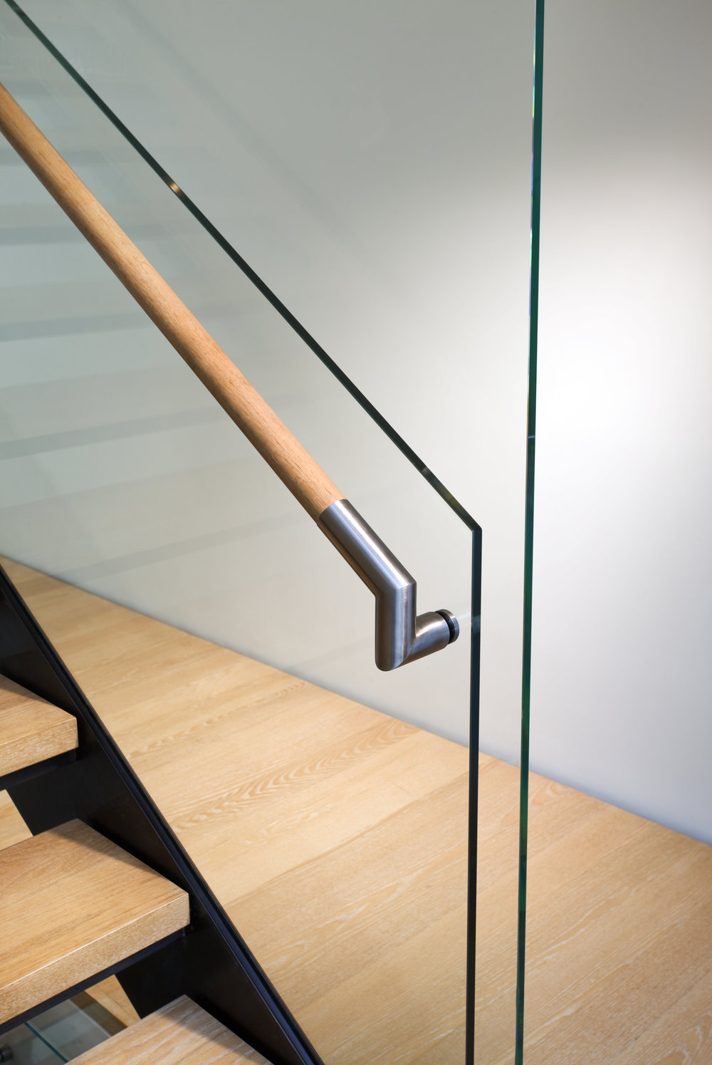 glass wall wood handrail detail
