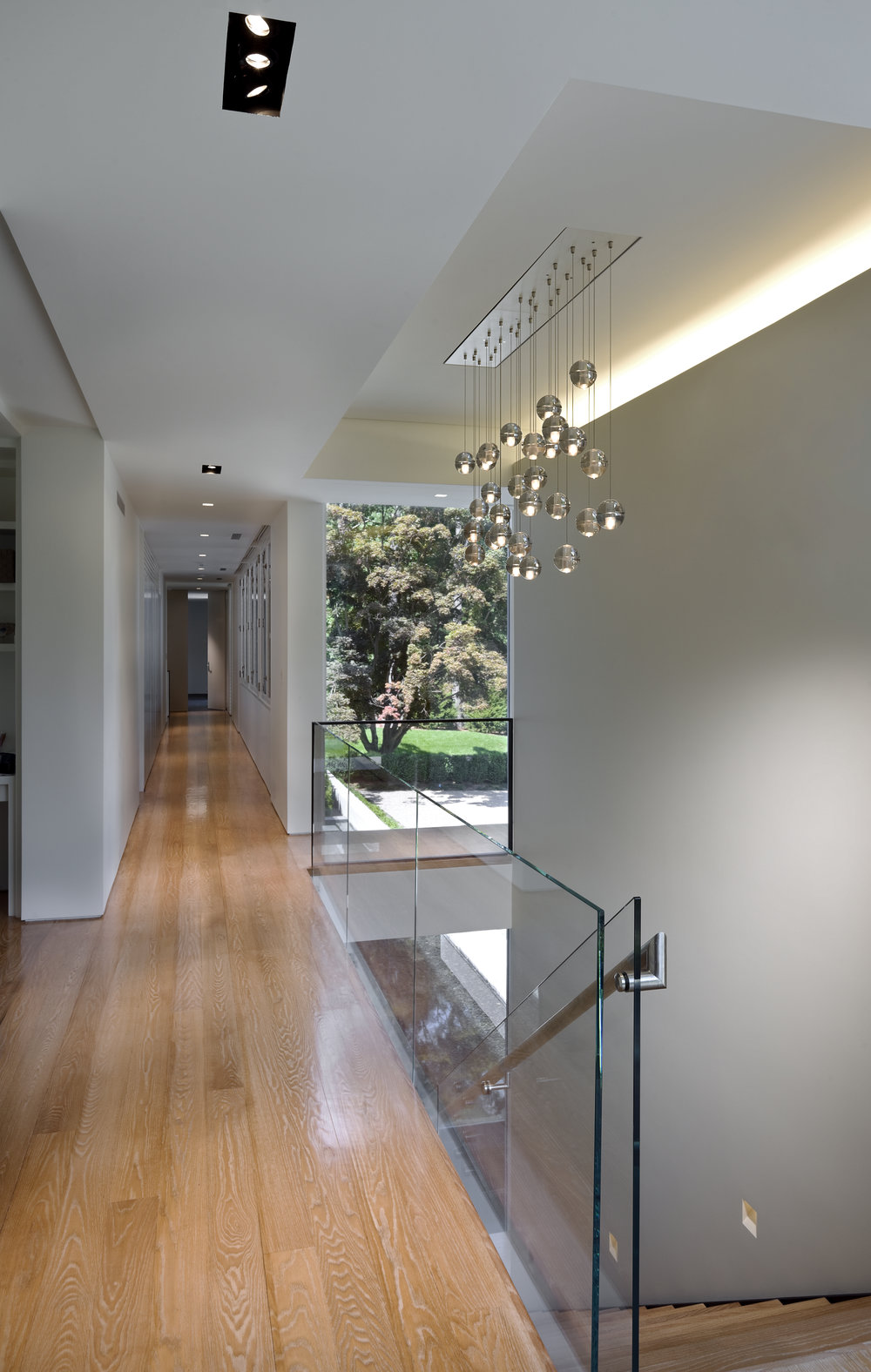glass hallway bright light