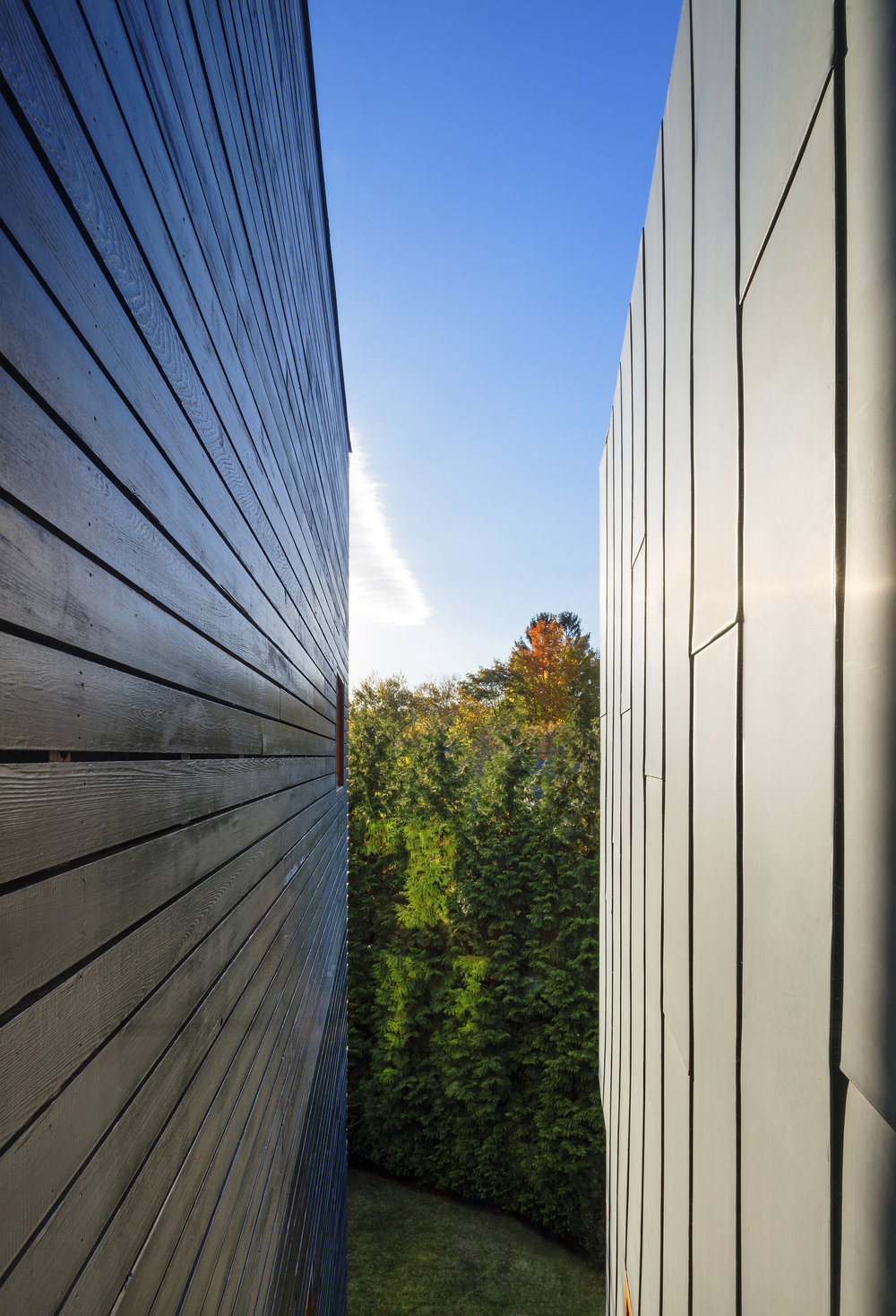 sleek parallel walls expanding sunlight view