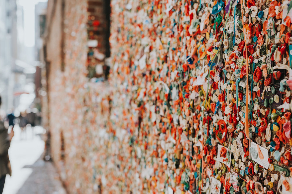 A wall covered in gum. Kind of gross. Kind of cool.