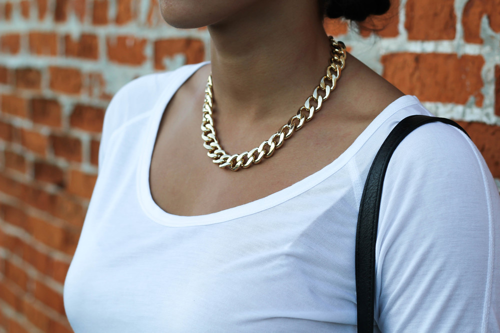 This H&M gold chain link necklace is simple enough to wear with almost anything, but also a unique addition to your outfit. It is thin enough to not look flashy while also being large enough to act as your statement piece of jewelry! Im talking myself into going to get the same one in silver as I write this post!