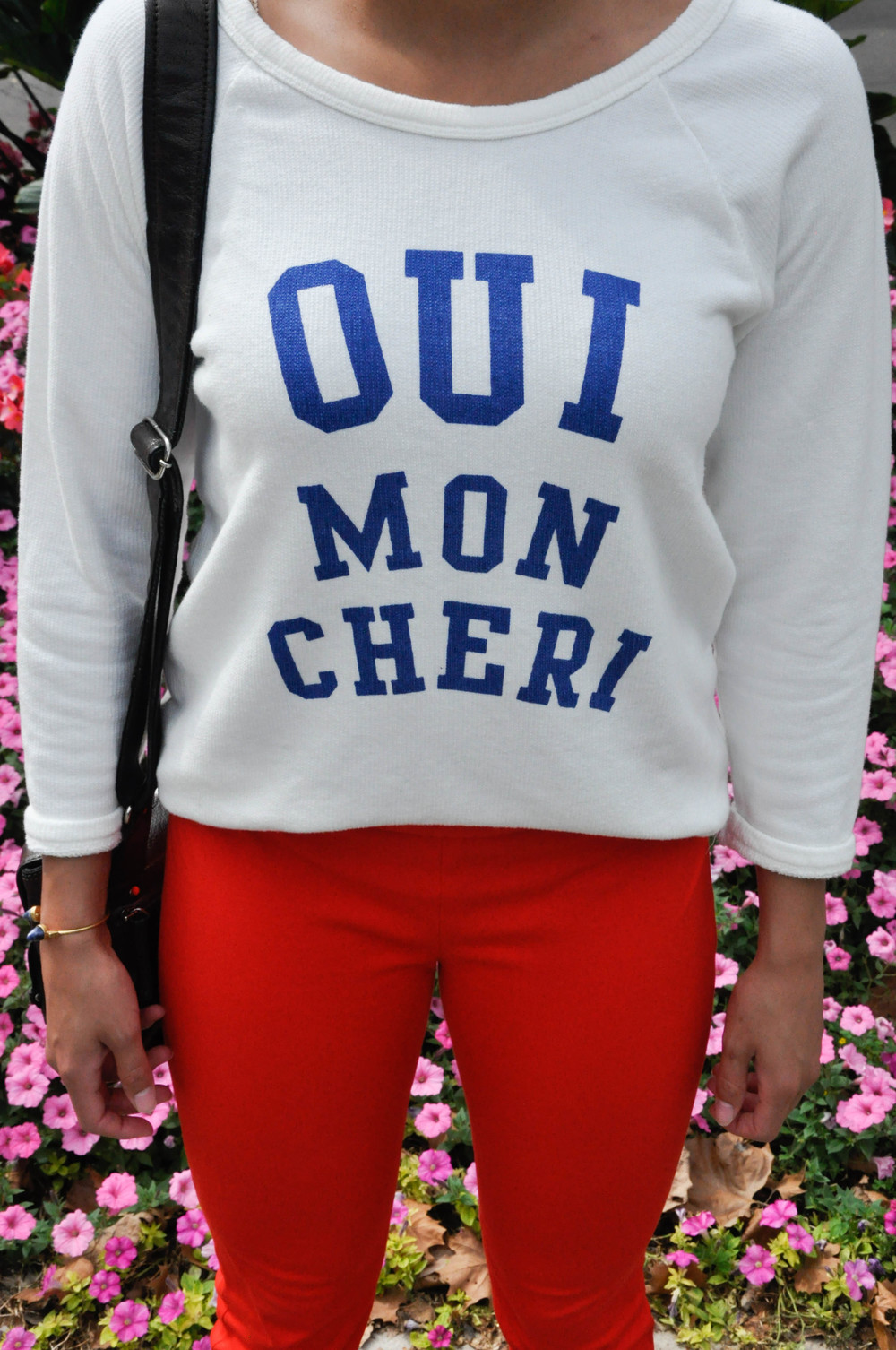 Oui mon chéri, I truly do love the french writing on clothing trend! J.Crew has been making strides with this trend by putting french saying on t-shirts, sweaters, and more. This light waffle like material is great for early Fall as the wind starts to pick up! It's a great sweater to play around with other colorful outfit choices, as I did with my pants. It allows for the words to pop if more colors get involved!
