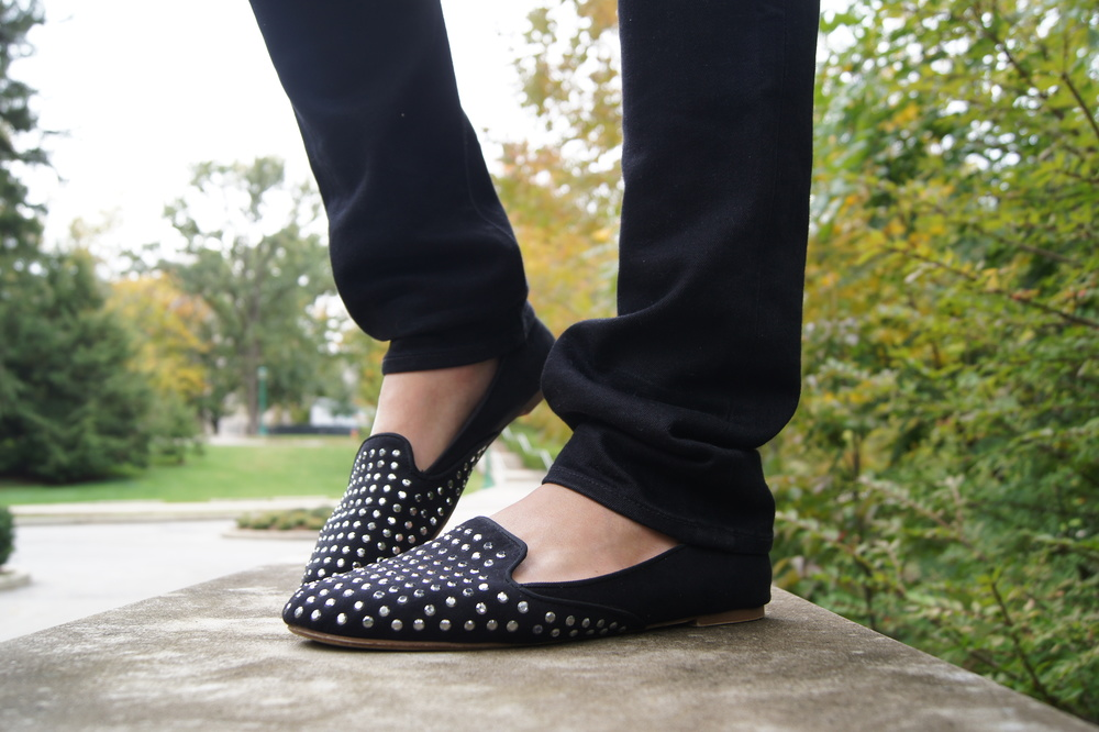 I love this new style of flats. It is almost like a more modern version of the ballerina flat. Studs have been a huge trend this season and were all over NY fashion week, so of course they have to be on my shoes! I love how the top of the shoe protrudes up rather than the usual one level of a ballerina flat because it adds texture and layering.