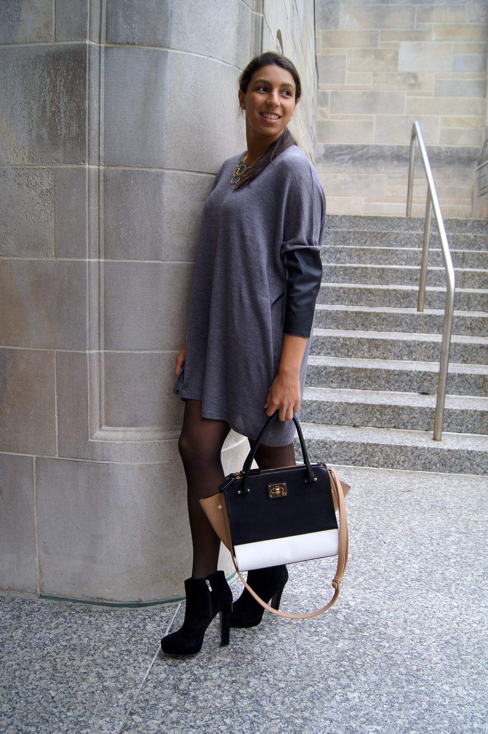 This look can be made more casual by throwing on some dark boots and maybe a light jacket. A big reason that I Iove this sweater dress is that I can wear it with heels to make it more dressed up, but also wear it to class or any other casual event.