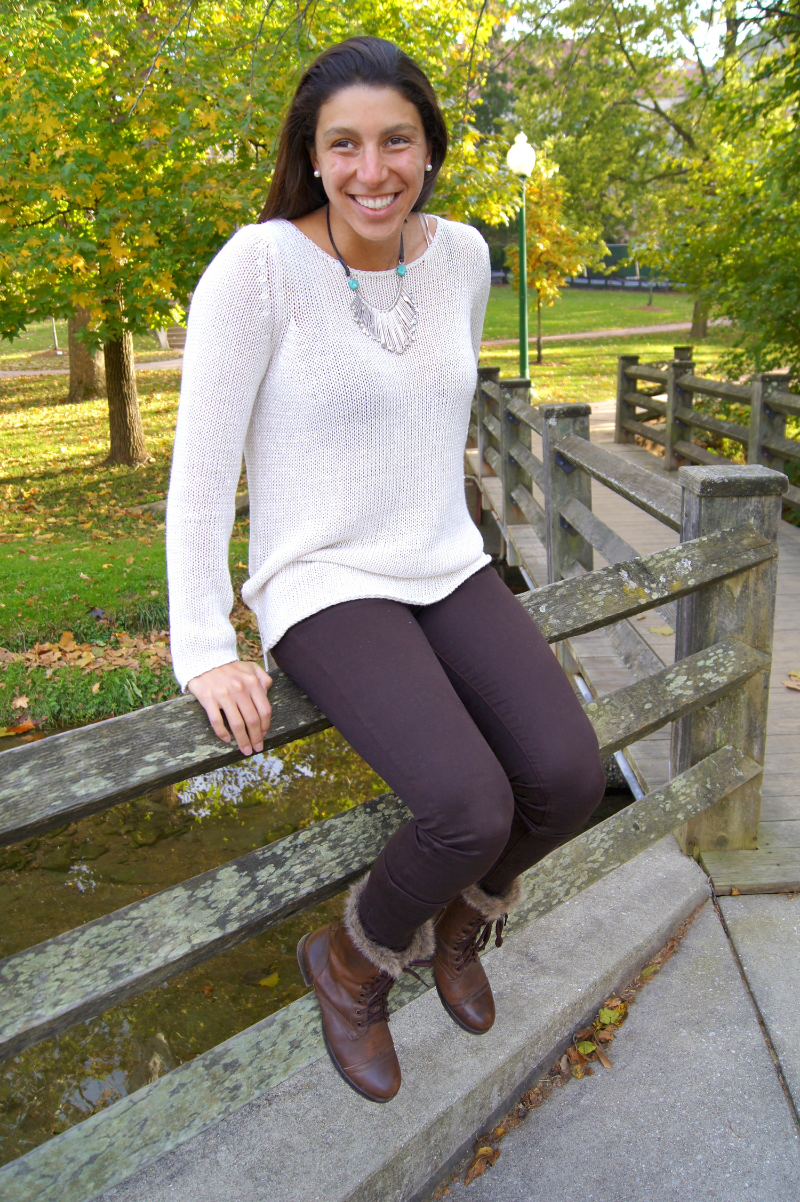 "Neutral Falltober sweaters are a huge trend right now! Danielle Prescod of Elle Magazine responded to one of my color trend tweets and mentioned that ""white is having a moment this season along with blush tones as well"" and I couldn't agree more! I really like how the crocheting of this sweater is not pulled so tight. That way there are small holes between each stitch. This gives it a lighter and slinkier feel."