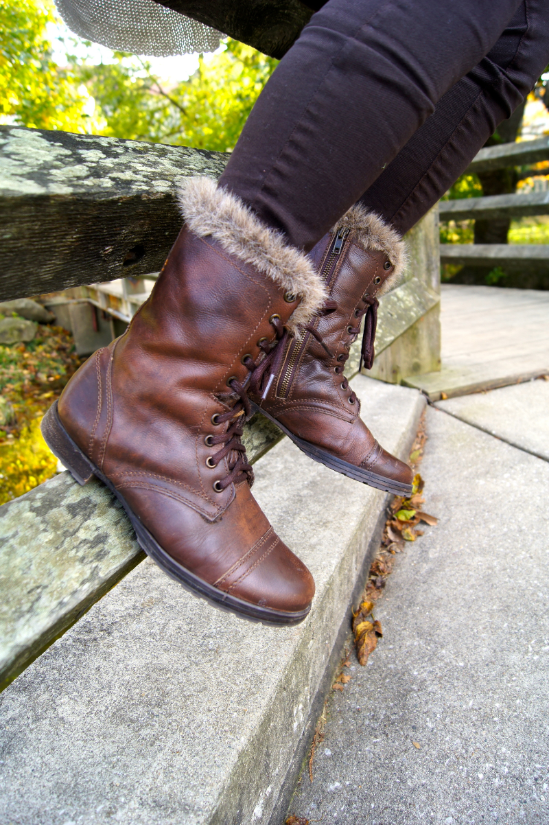 These Steve Madden boots are great because I can wear them even it gets colder out. The fur actually adds a lot of warmth and variety compared to the standard no fur combat boot!