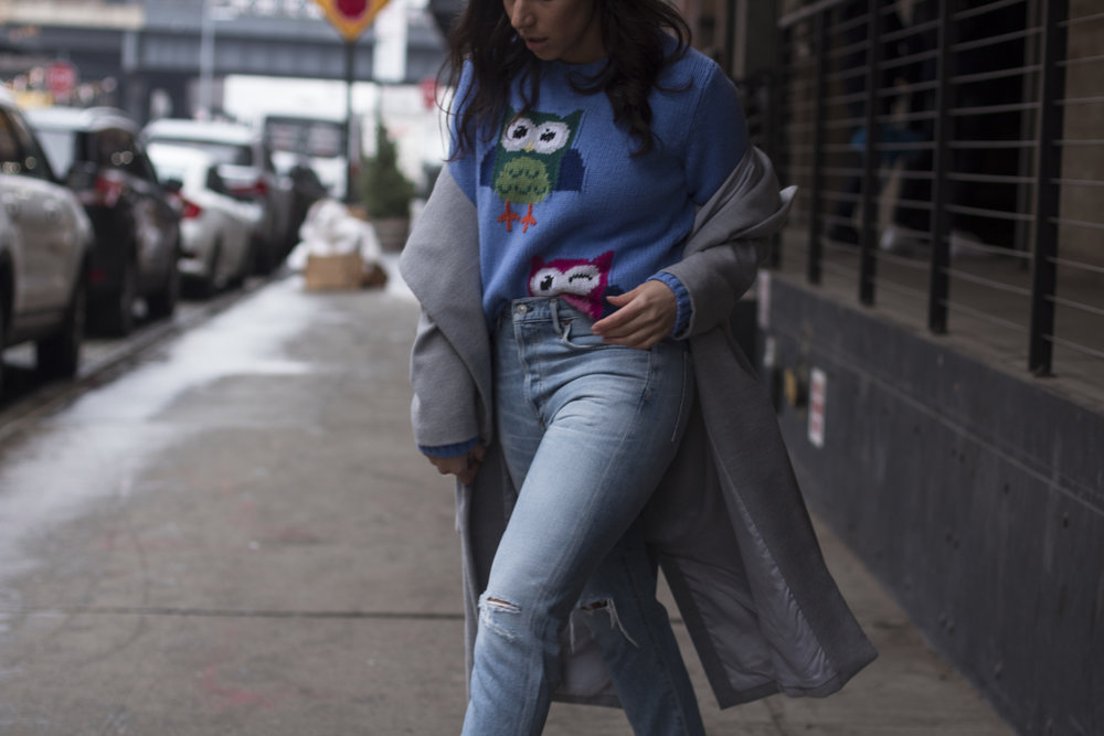 Boyfriend Jeans + Owl Sweater -