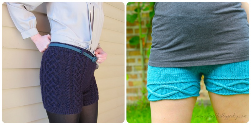 Left: Bombshell Shorts, pattern by Katie Canavan Right: Wet Hot Summer Shorts by Solene Le Roux