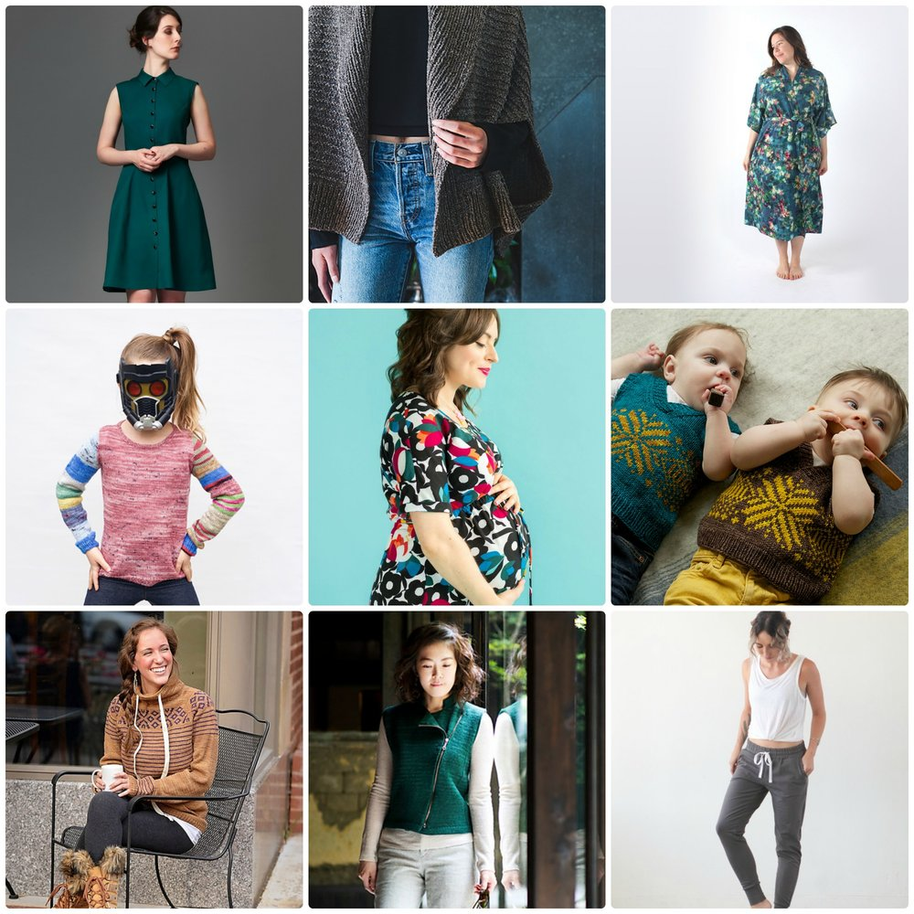 L-R:  Bluet Dress , Deer & Doe;  Veronika Cardigan , Shannon Cook;  Suki Kimono , Helen's Closet;  Little Sock Arms , Stephanie Lotven;  Bettine Dress , Tilly and the Buttons;  Peanut , tincanknits;  Brecken Sweater , Kate Oats;  Harley , Veronika Jobe;  Hudson Pant , True Bias
