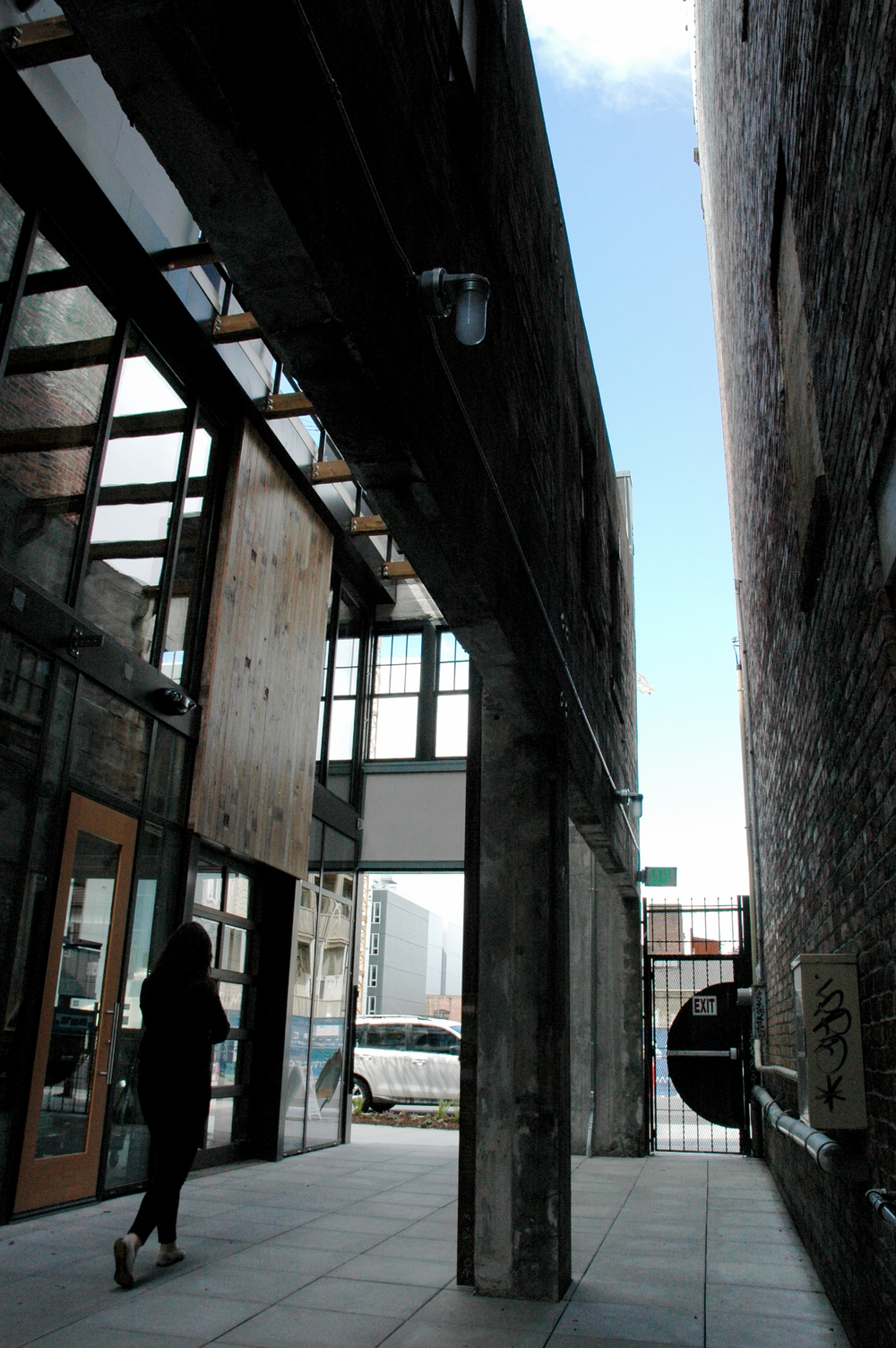 "Chophouse Row mews - the 5'-0"" easement between the original Chophouse and the Linen-Baker Building next door."