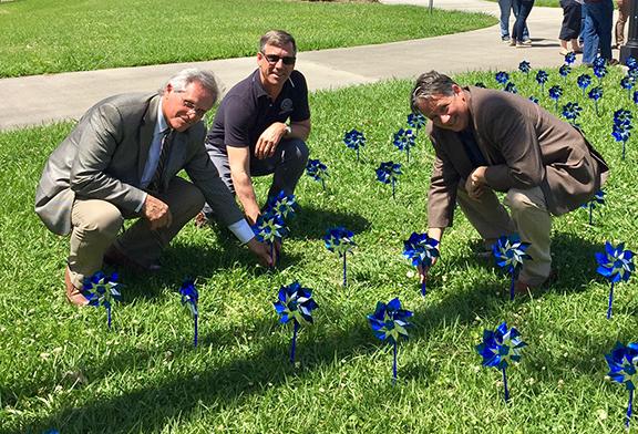 Lafayette dignitaries plant pinwheels