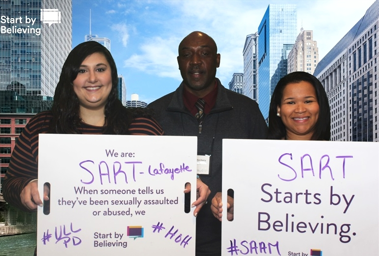 (r-l) Teressa Ledet, Darren Zachary & Jencie Hebert take a stand for #SAAM as SART members