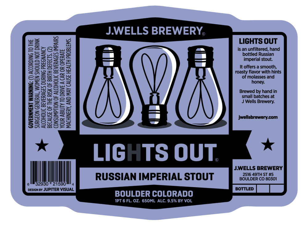 J. Wells Brewery LIghts Out Label