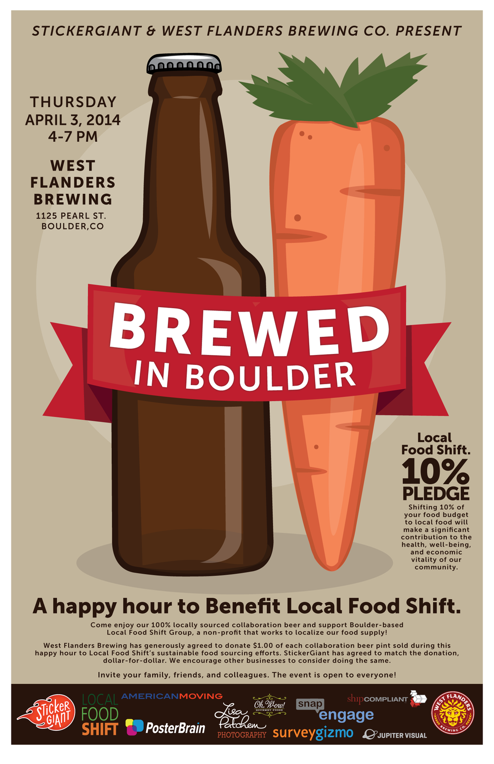 Custom sticker sheet illustration and design for  Brewed in Boulder  event
