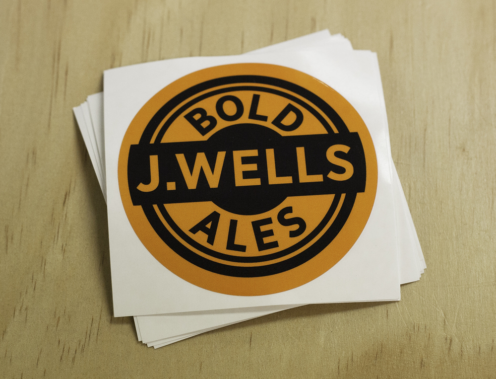 Logo design and sticker design for  J. Wells Brewery  in Boulder.