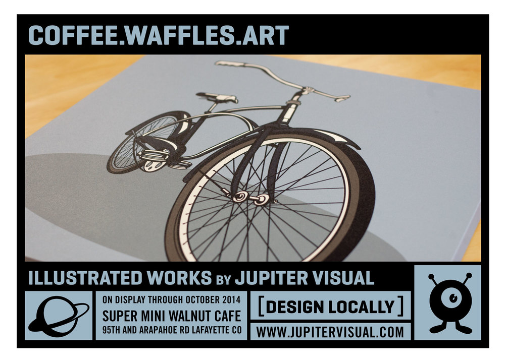 I have a show of illustration works hanging at the Super Mini Walnut Cafe in Lafayette Colorado for the rest of October. Some old stuff, some new stuff some blue stuff. Check it out and eat a healthy breakfast.