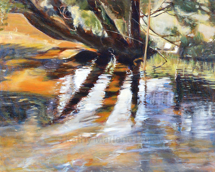 water painting, oil painting, painting, Haliburton, wet, orange and black, Kathy, Kathy Marlene, Kathy Bailey, Kathy Marlene Bailey,Canadian oil painter, Orillia, Barrie, Burlington, Ontario, tree trunks, willow tree, rushing water, rope swing, childhood fun, swimming hole