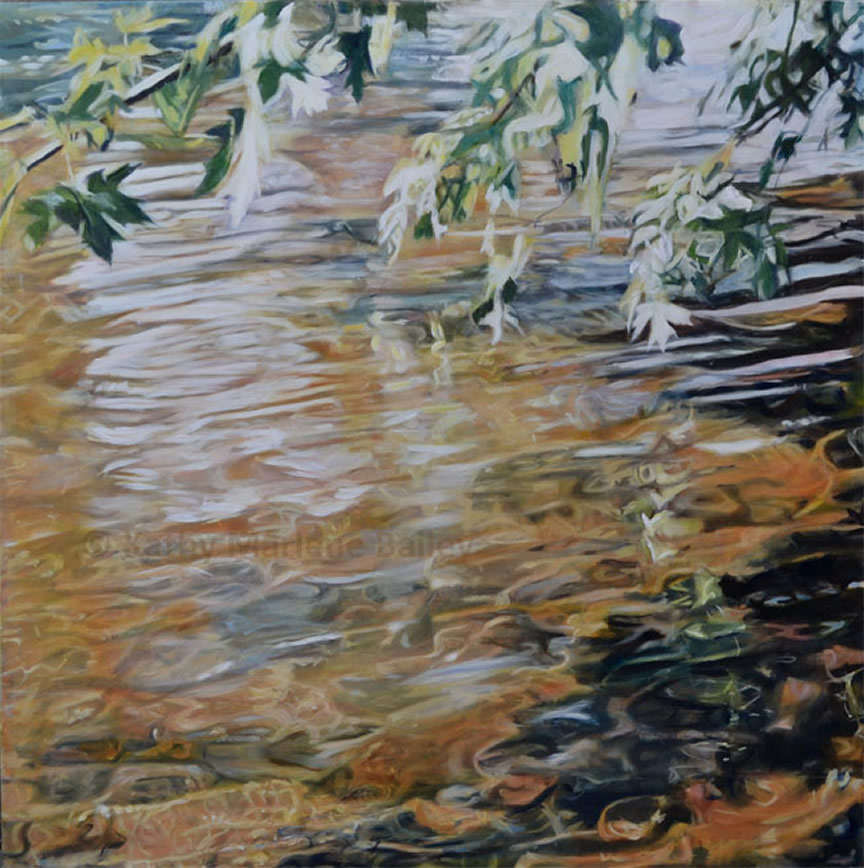Society of Canadian Artists, Gull River, Intimate Canopy, waterscape, oil painting, Haliburton, Ontario, Shallow water, maple trees