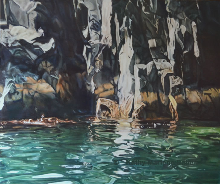 ocean water, major work, major oil painting, turquoise water, cliff, rock cliff, Newfoundland, Old Perlican,  Kathy Marlene Bailey, glaze oil, painting, rocky shore, lobster fishing, fishery, canadian artist, Newfoundland artist
