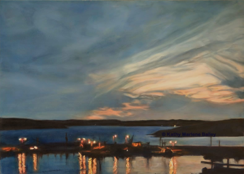 nightscape, waterscape, harbourscape, wharf, lights at night, Newfoundland, NL, Nfld., fishing port, boats, sunset, sunset over the harbour, Nightfall over the Harbour, Old Perlican, oil painting, Christina Parker, Gallery, Art Gallery NL, fishing activity, Quinlan Brothers, Quinsea
