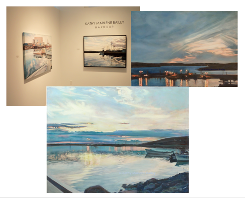 Christina Parker, Gallery, St. John's, Newfoundland, Art Show, Harbour, boat,  sunset, fisherman, fishermen, wharf, fishing, boat, oil painting, investment, Kathy, Marlene, Bailey, English Harbour, glazing