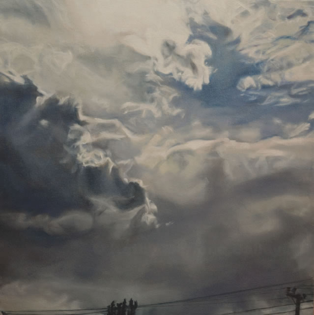 Power In Heaven and Earth, Kathy, Marlene, Bailey, artist, oil painter, Canadian, Sky Painting, Storm, Clouds, Electrical, Lightning, ominous, forboding, God, Heaven, Heavenly, Heavens, dark, dark clouds, cloud break, Renaissance, technique, glaze, oil, painterly, rendition, blue sky, opening, electrical wires, telephone pole,