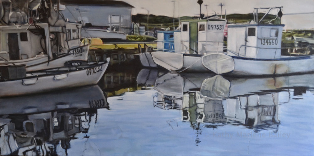 Heart of Perlican, Old Perlican, Harbour, boats, Button's Marine, nautical, scene, waterscape, Newfoundland, fishery, fishing, water, oil, painting, CGOS, English Harbour