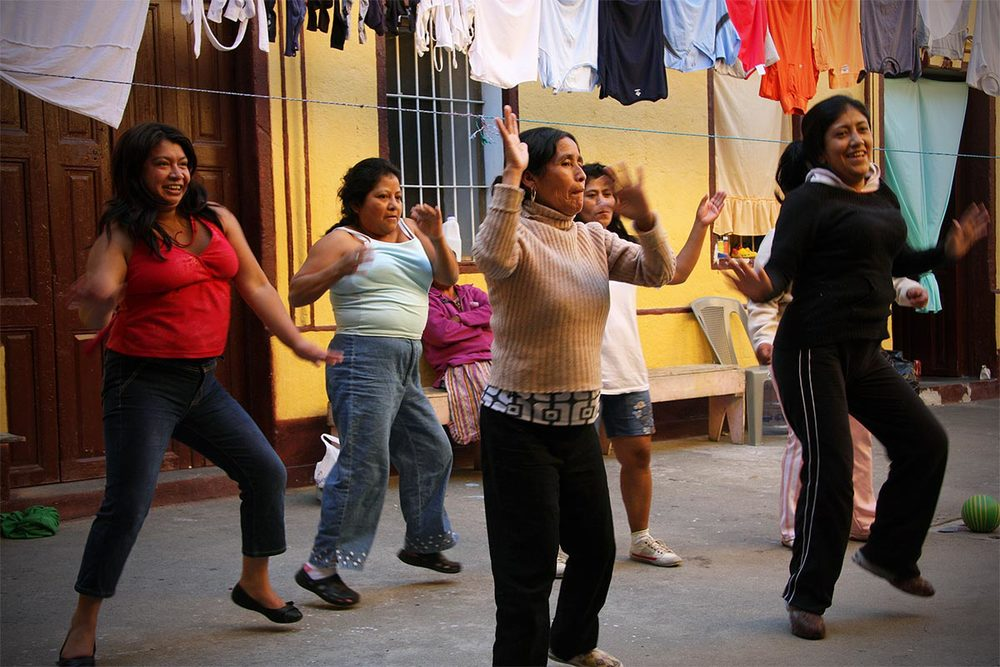 Zumba in the courtyard.