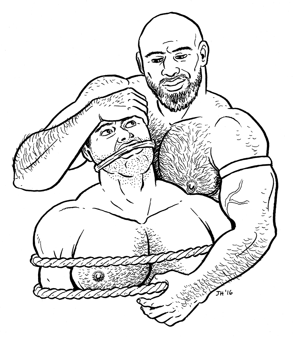 Illustration graciously donated by Justin Hall.  Justin is an avid member and supporter of the Leathermen's Discussion Group for many years. He recently led a discussion about his lifelong passion of erotic art and it's place in the kink community. We are ecstatic that Justin calls San Francisco his home.  When asked to contribute original art for the 20th anniversary commemoration of LDG, he did not hesitate. He wanted to doing something very special that captured the essence of LDG as one of the most important binding forces of the leather and kink community of San Francisco. What you see here is the result of that. What an honor it is to be able to share Justin's 20th Anniversary original artwork with the rest of the world.