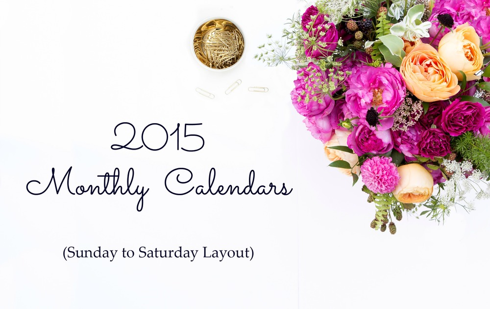 2015-Monthly-Calendars-Sunday-to-Saturday-Layout