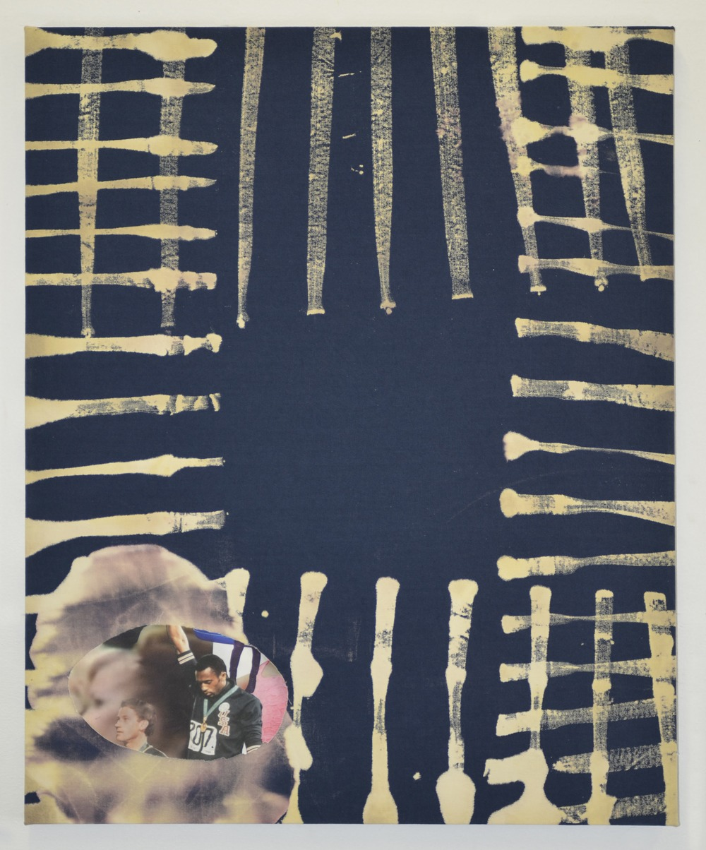 Amanda Curreri. Eff (Tommie Smith), 2015. Fabric dye and discharger, digital print on fabric. Courtesy of Romer Young Gallery.