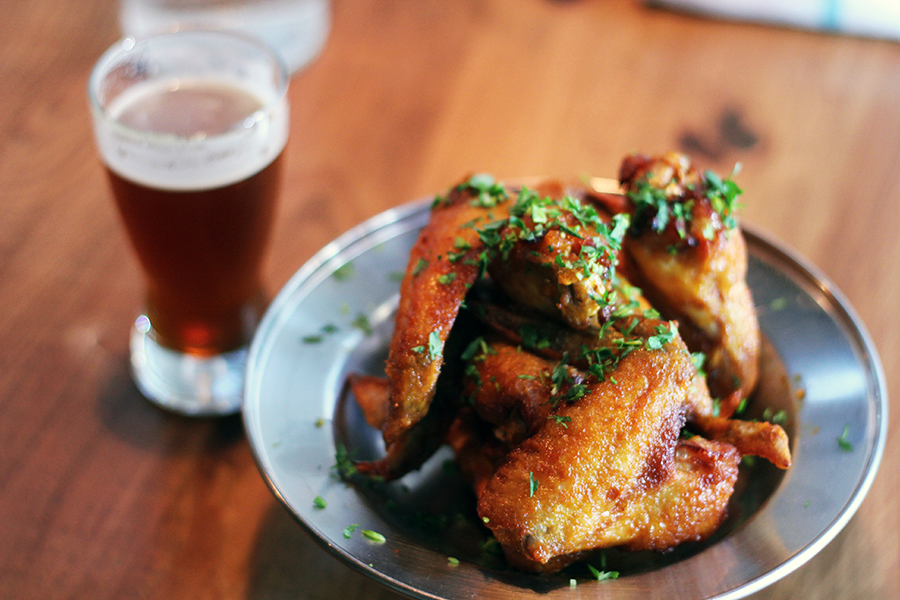 Photo: Beer and wings at Grand Rounds